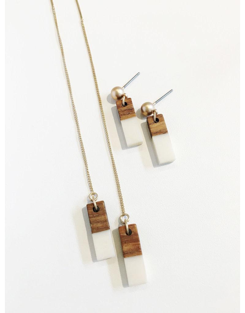 oorbEllen hars&hout rechthoekje mini