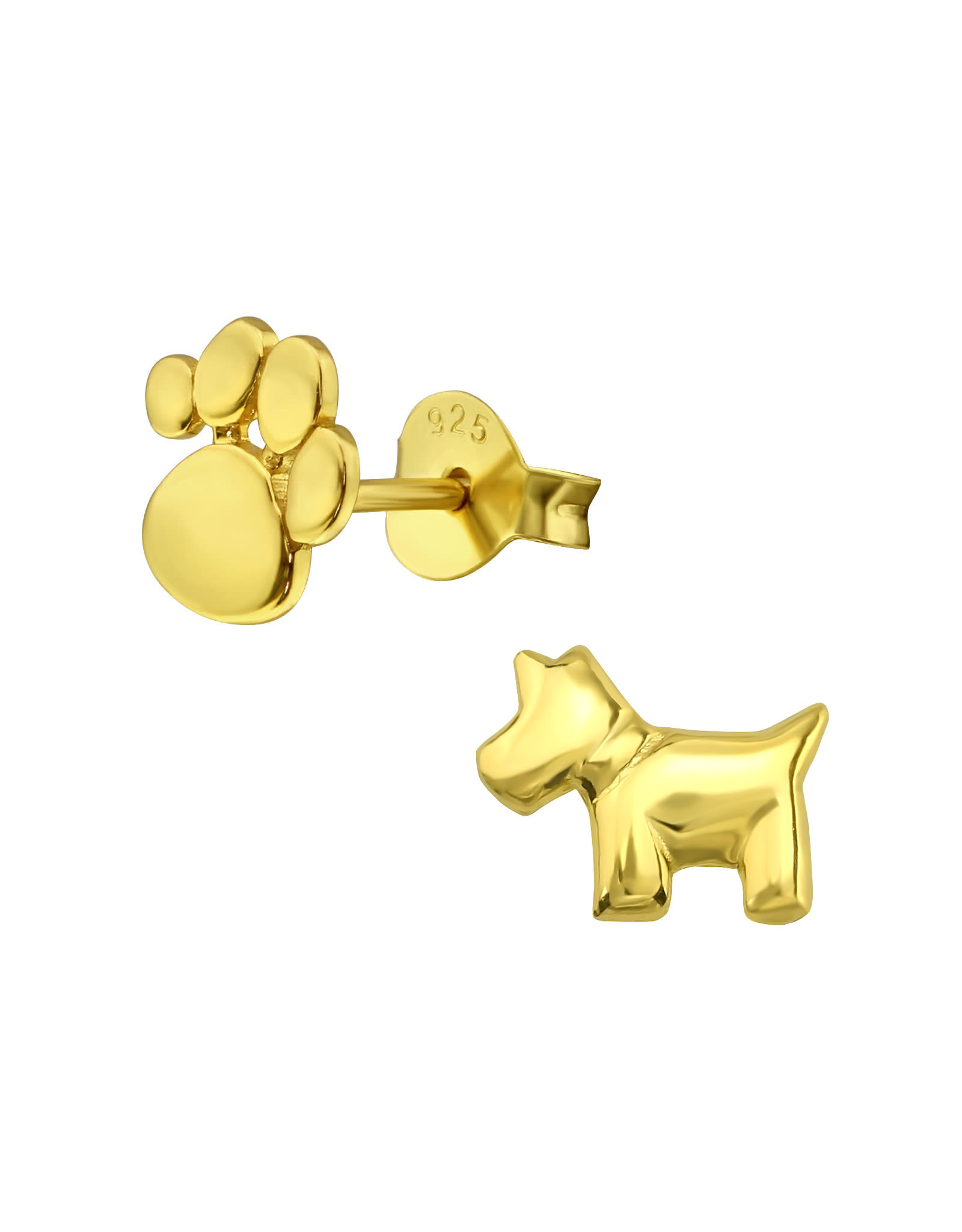 Stekertjes hond & pootje goudkleurig