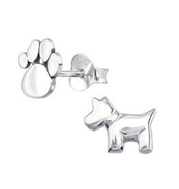 Stekertjes zilver hond & pootje