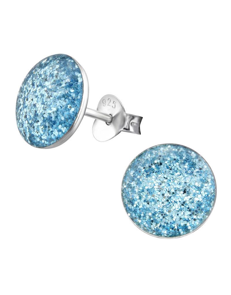 Stekertjes zilver glitter blauw