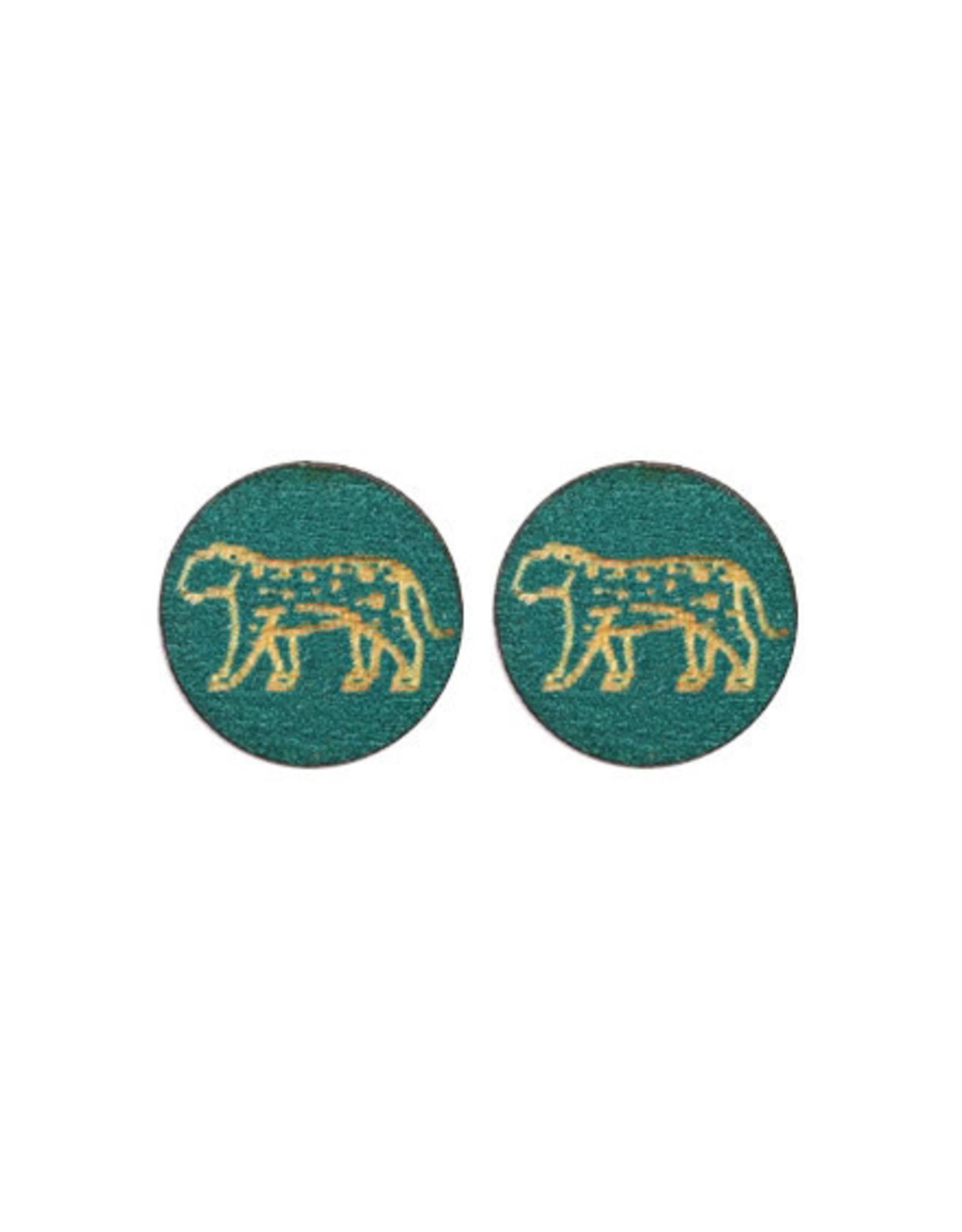oorbEllen stekers hout luipaard donker turquoise