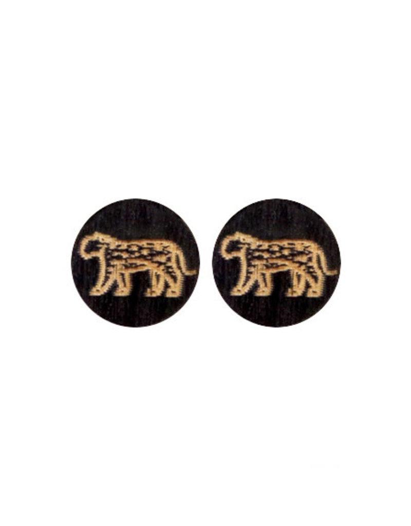 oorbEllen stekers hout luipaard zwart