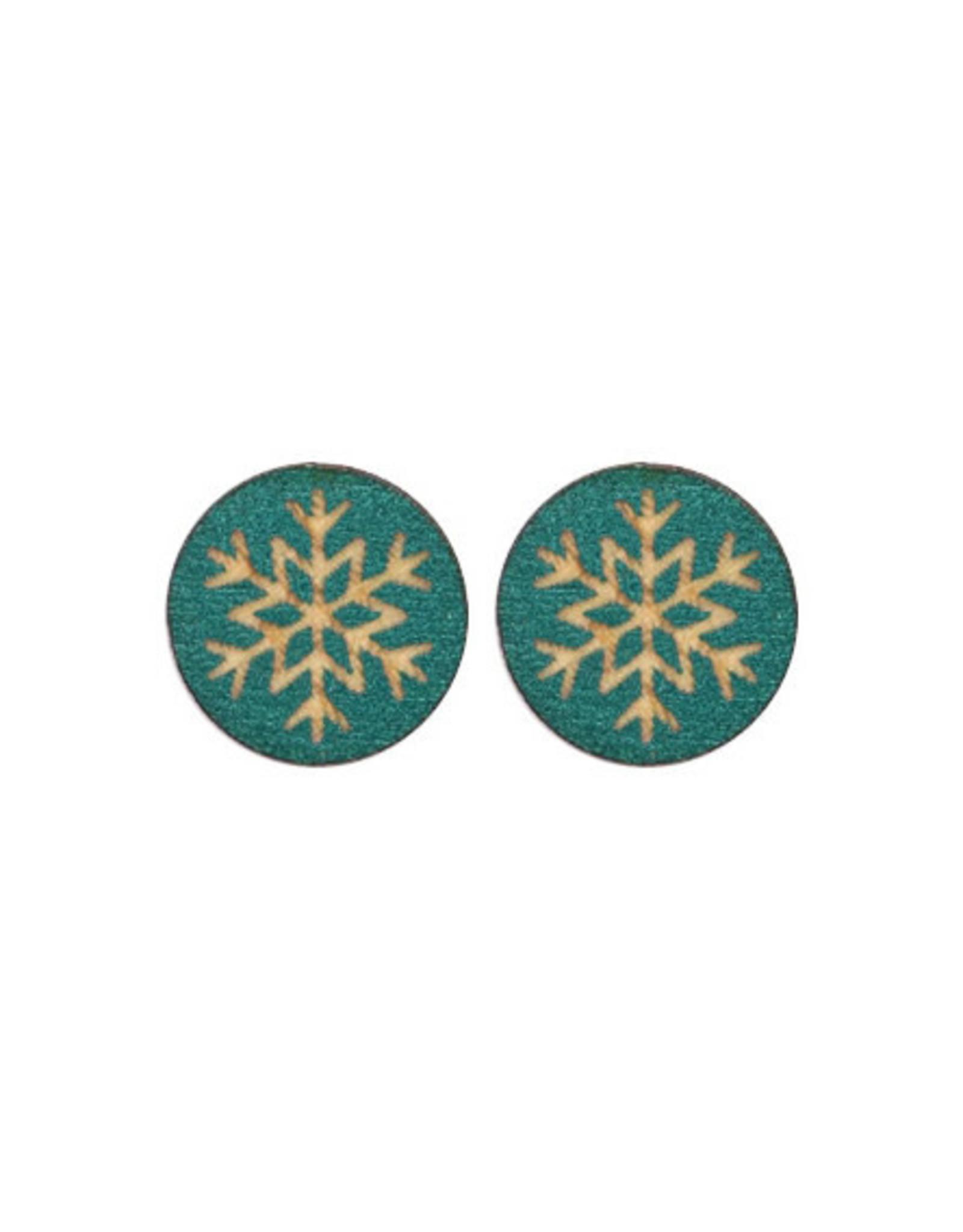 oorbEllen stekers hout sneeuwvlok donker turquoise
