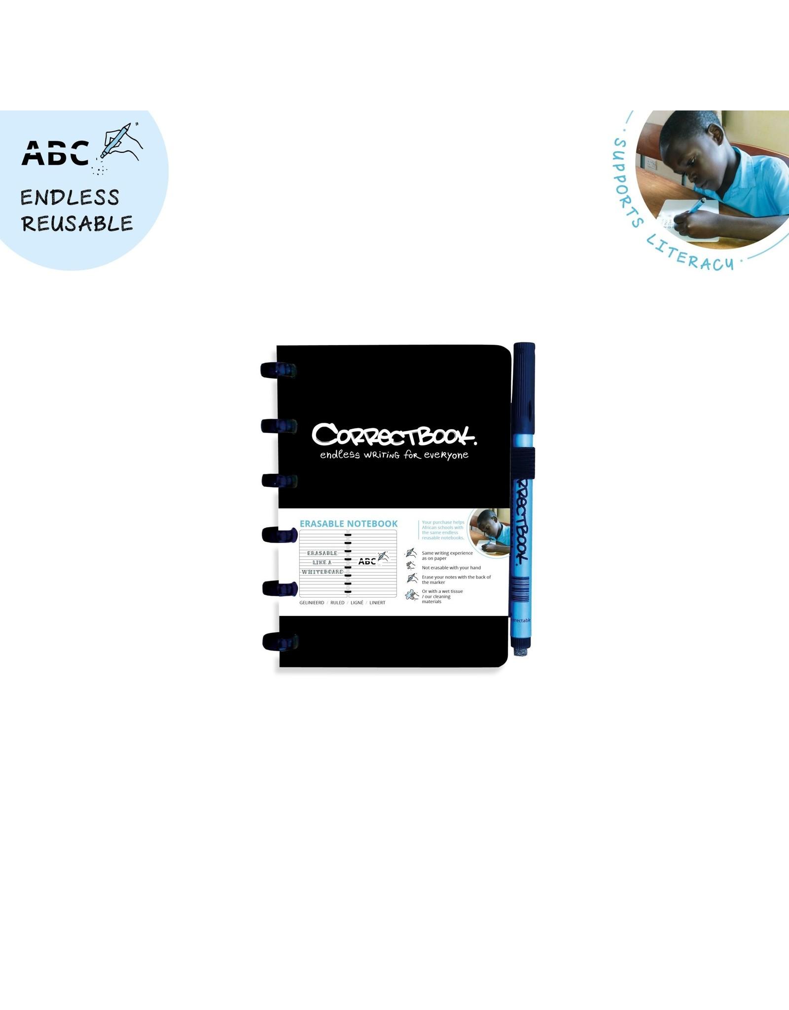 Correctbook A6 gelijnd zwart