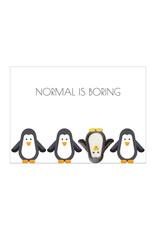 Postkaart met broche & enveloppe pinguïn