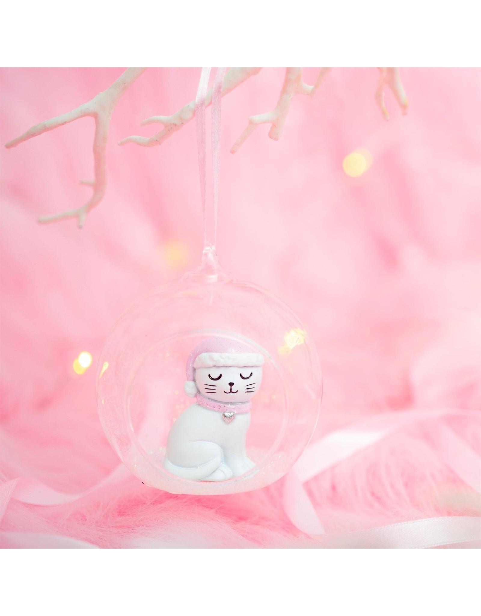 Kerstbal glas kat