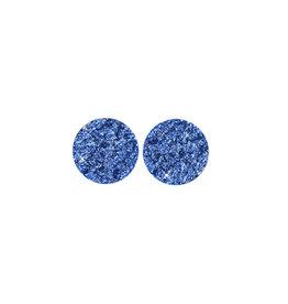 oorbEllen stekers plat 12mm spikkel blauw