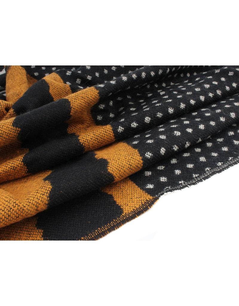 Sjaal polkadot zwart/oker
