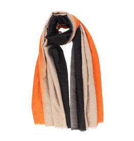 Sjaal fijn gestreept koraal/ecru/zwart