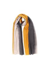 Sjaal gestreept oker/ecru/zwart