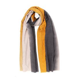 Sjaal fijn gestreept oker/ecru/zwart