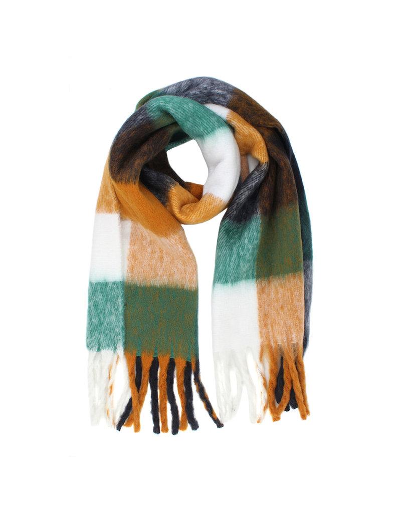 Sjaal geruit groen/oker/zwart