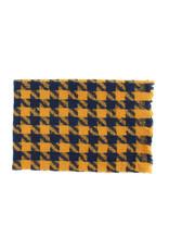 Sjaal geruit blauw/oker