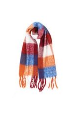 Sjaal geruit blauw/bordeau/roest