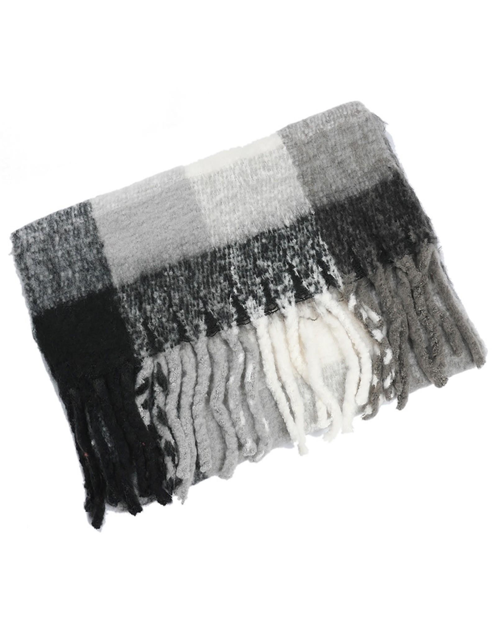Sjaal geruit zwart/wit/grijs