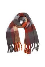 Sjaal geruit grijs/bordeaux/mauve