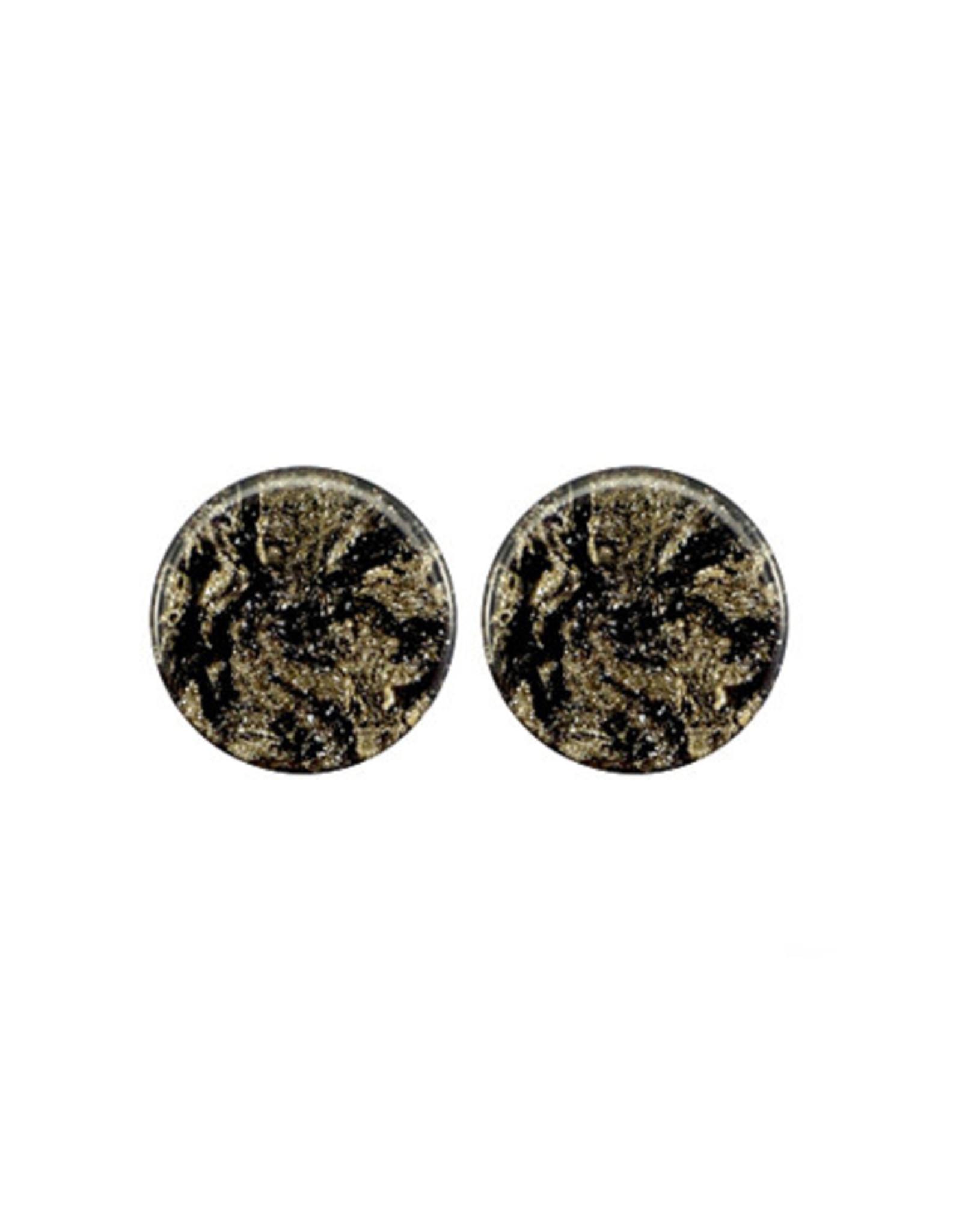 oorbEllen stekers 12mm plat swirl zwart