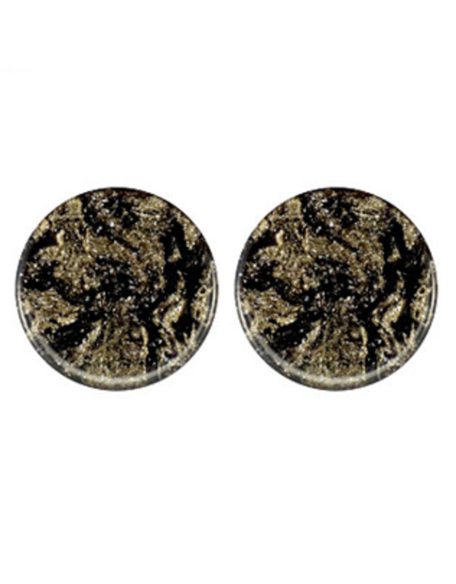 oorbEllen stekers 20mm plat swirl zwart