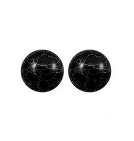 oorbEllen stekers 12mm bol marmer zwart