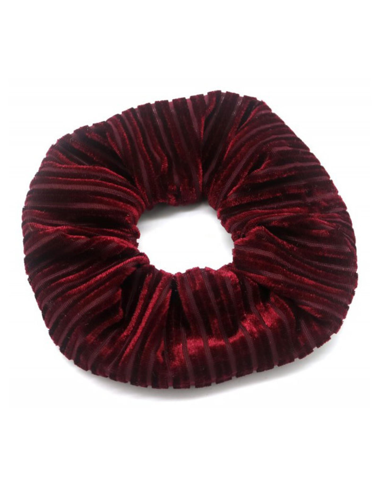 Scrunchie velvet ribbels bordeaux