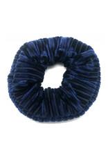 Scrunchie velvet ribbels blauw
