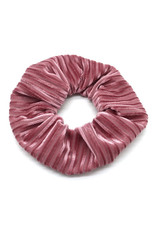 Scrunchie velvet ribbels roze