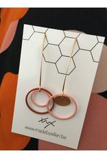 Mix&match hangers cirkels asymmetrisch roze roest
