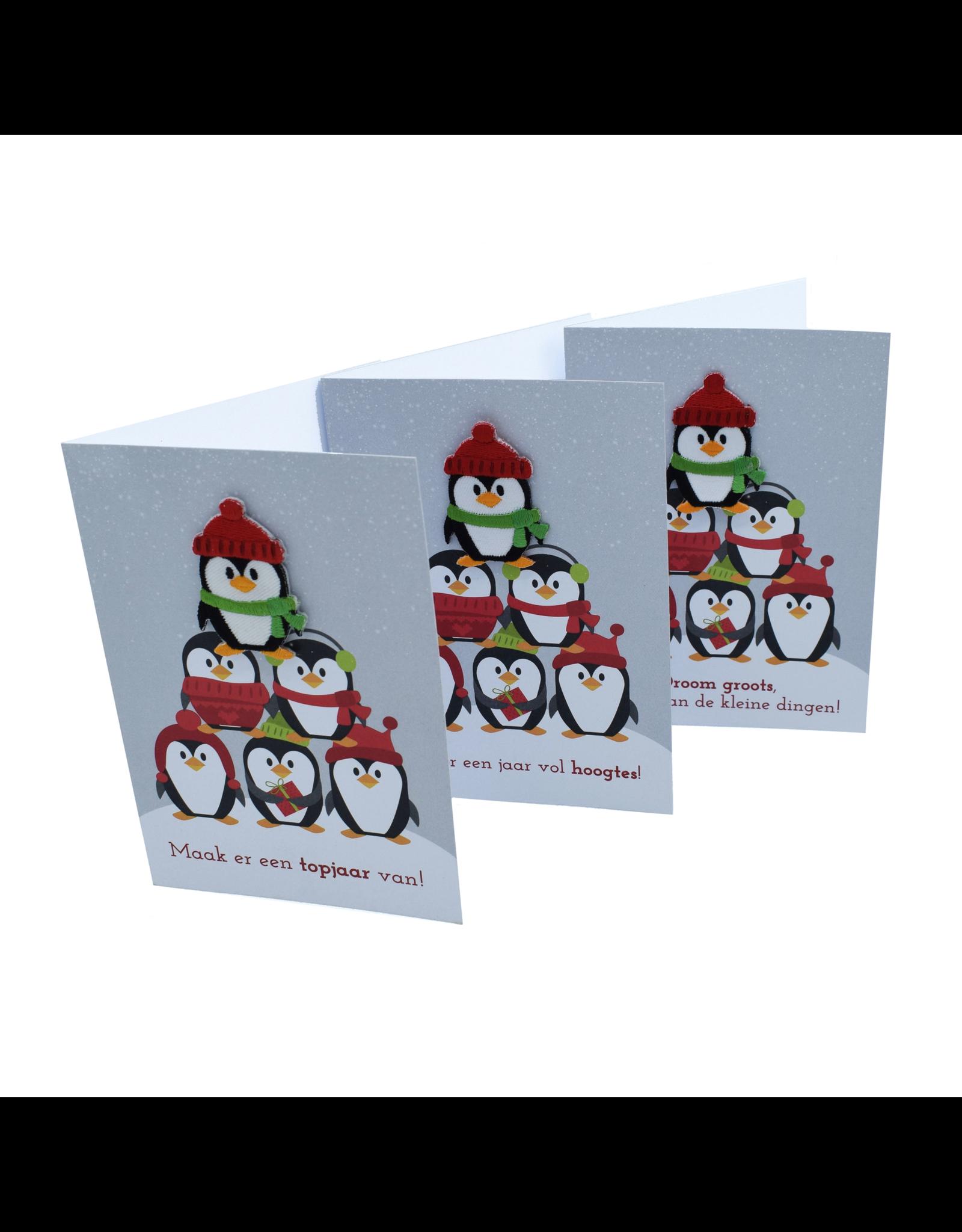 Wenskaarten met patch TOP PINGUINS