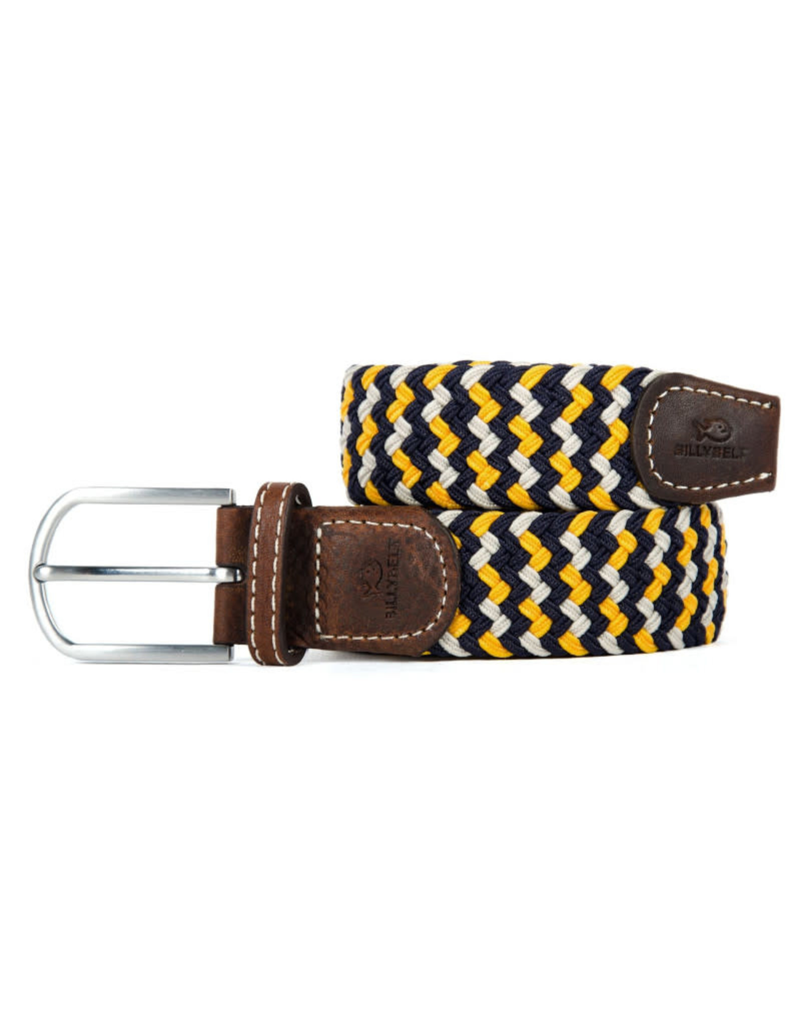 Riem zigzag donkerblauw/geel/ecru T1