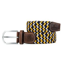 BB: Riem zigzag donkerblauw/geel/ecru T1
