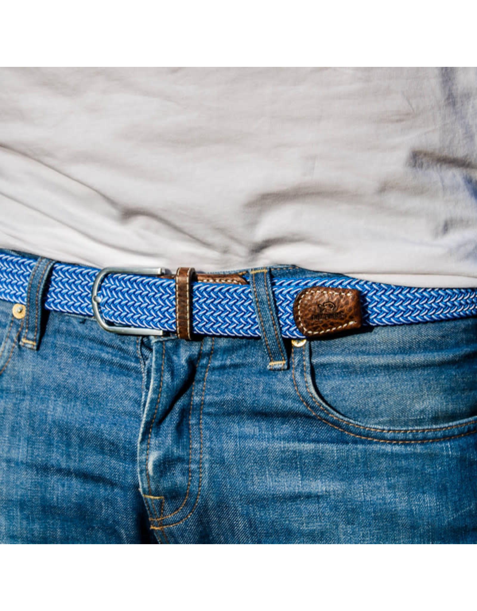 Riem visgraat blauw/ecru T1