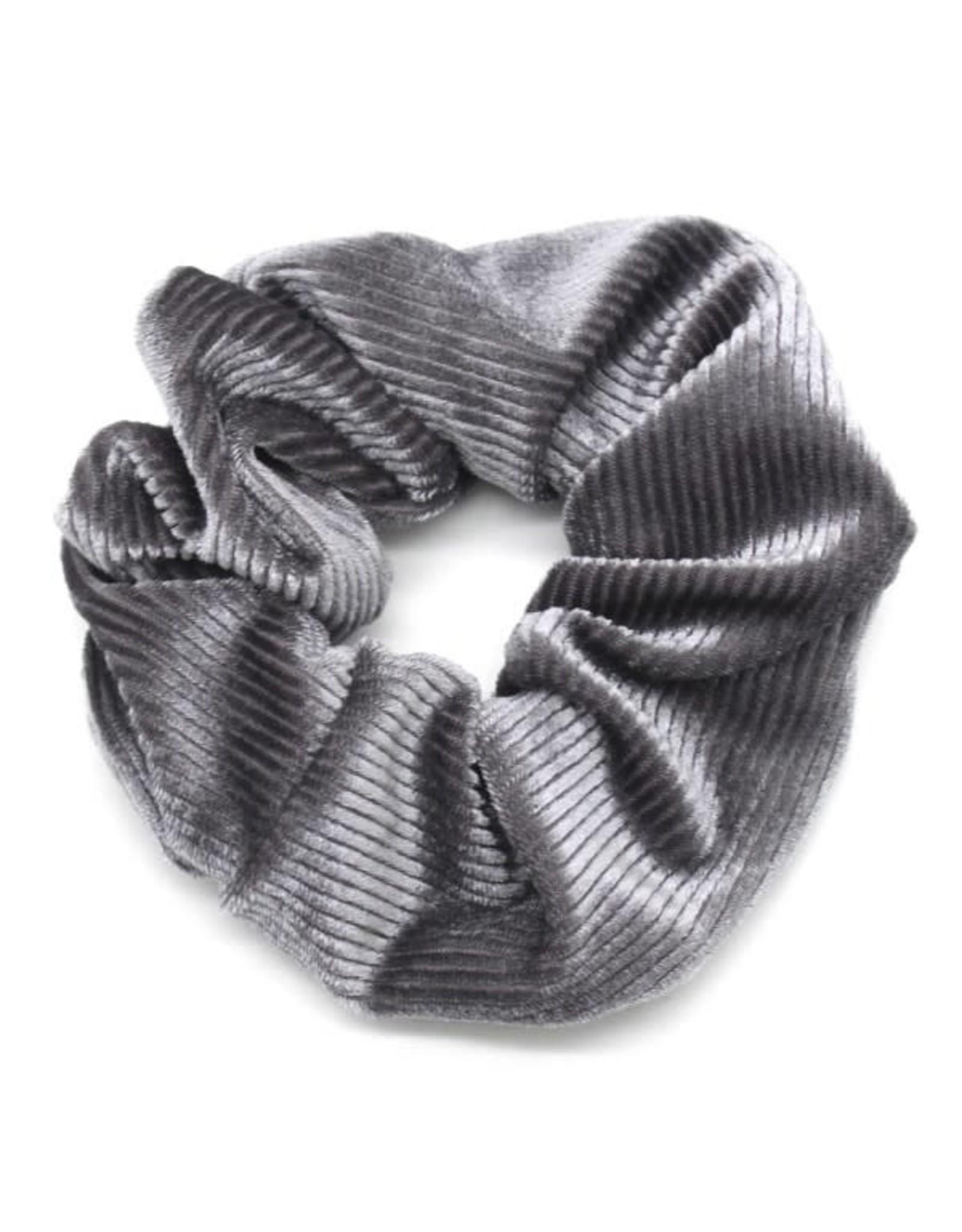 Scrunchie fijne ribbels grijs