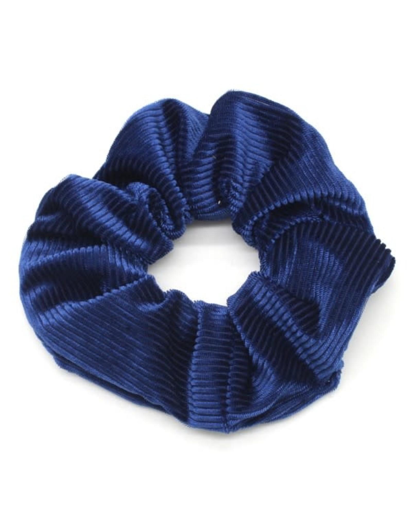 Scrunchie fijne ribbels blauw