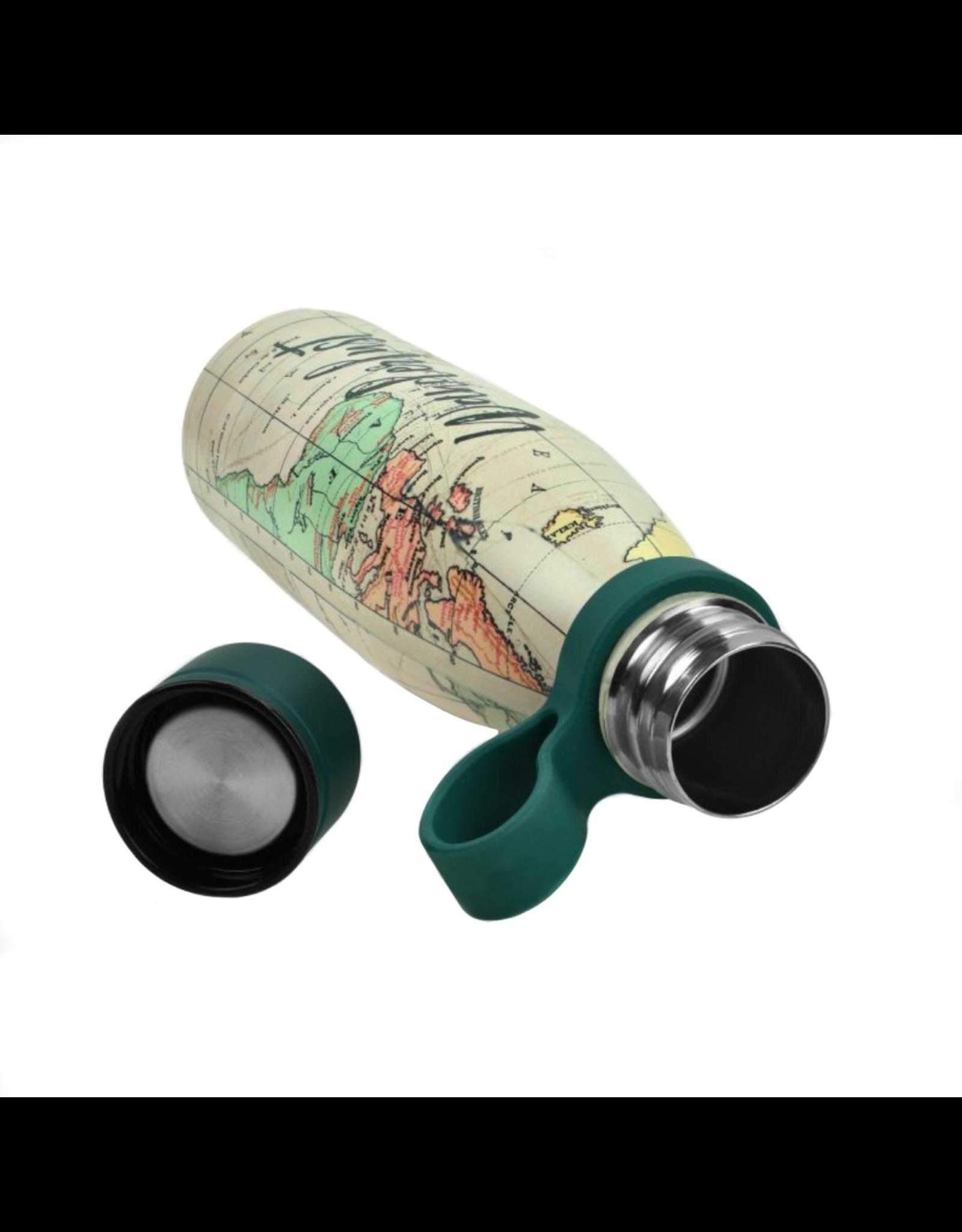 Dubbelwandige RVS fles wereld