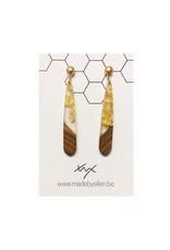 oorbEllen hars&hout goud druppel klein