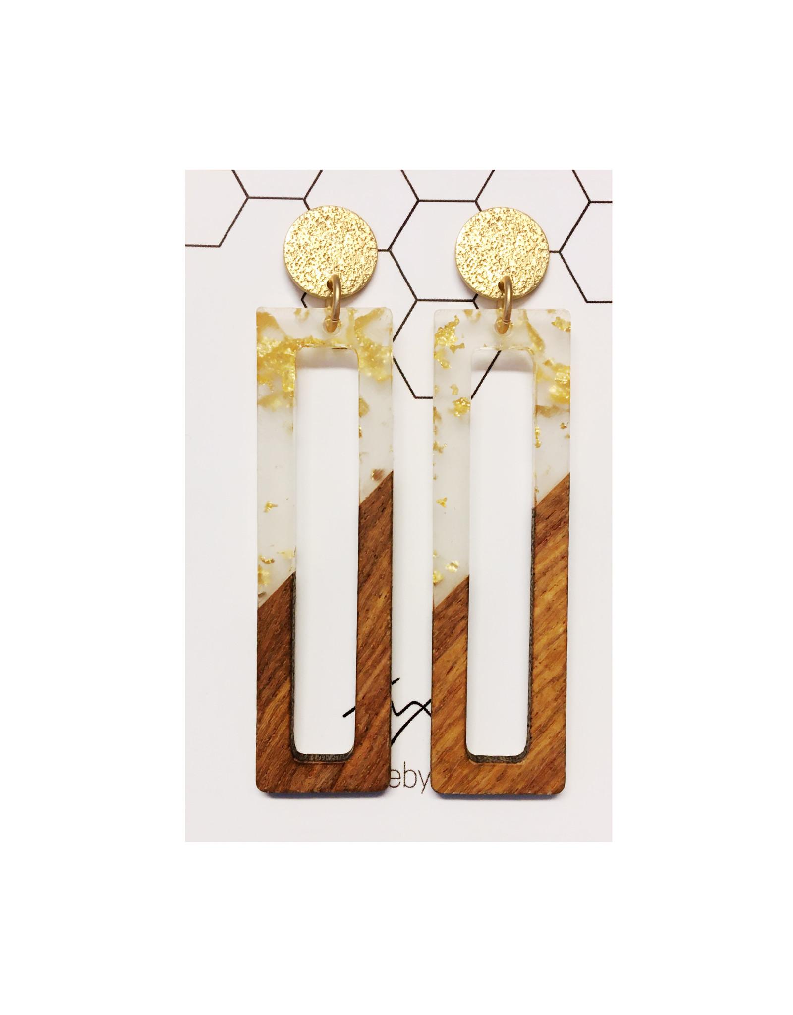 oorbEllen hars&hout goud rechthoek