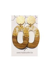 oorbEllen hars&hout goud ovaal