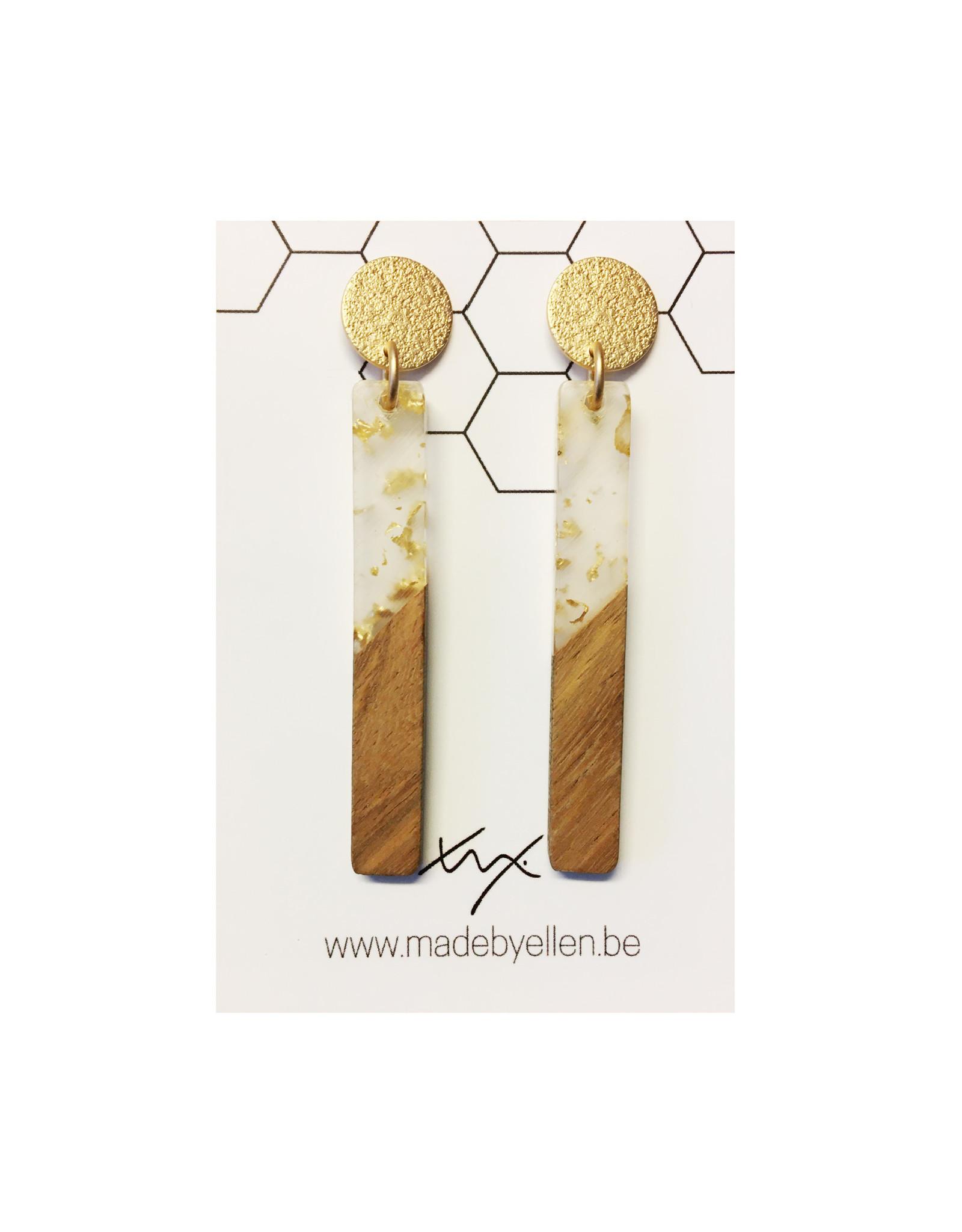 oorbEllen hars&hout goud staafje