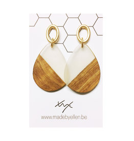 oorbEllen hars& hout druppel XL transparant