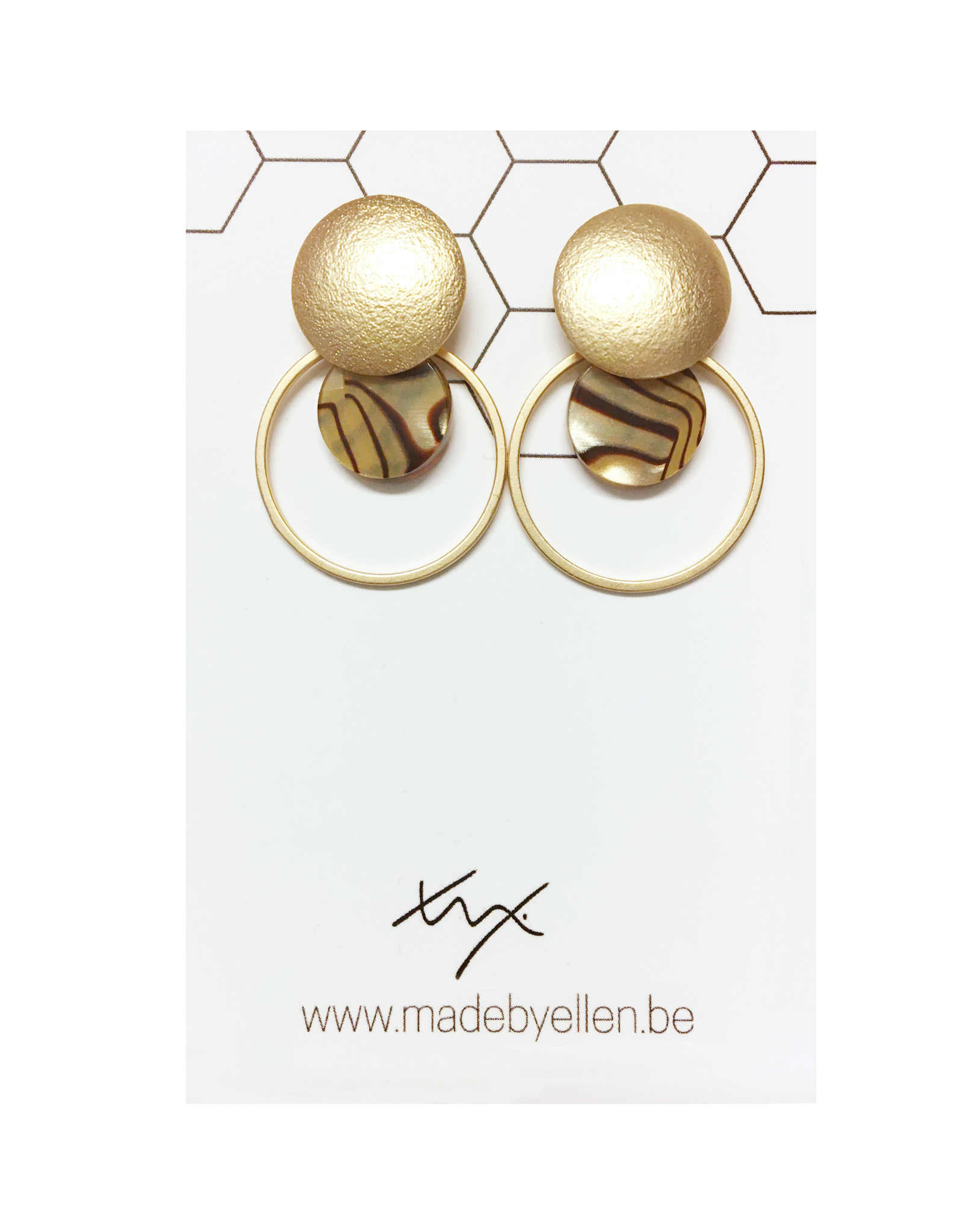 oorbEllen mix&match cirkels dubbel acryl goud