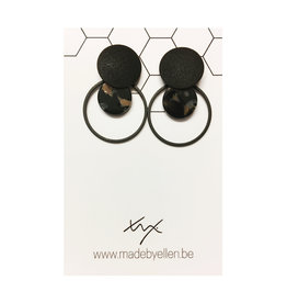 oorbEllen mix&match cirkels dubbel acryl zwart