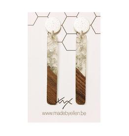 oorbEllen hars& hout zilver staafjes