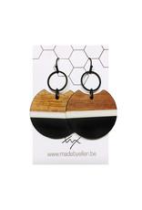 oorbEllen hars&hout zwart cirkel 34mm streep wit zwart