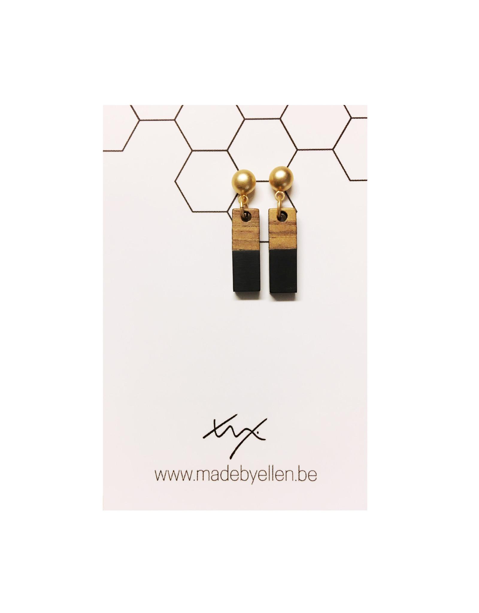 oorbEllen hars&hout rechthoekje mini zwart