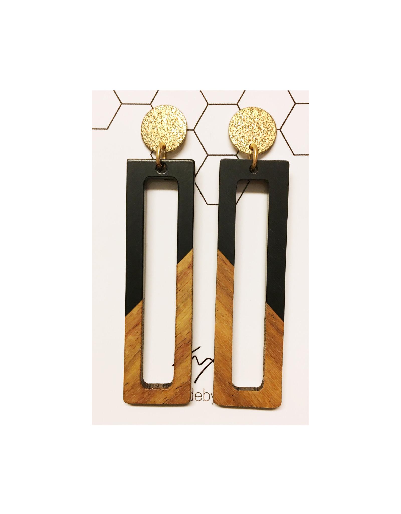 oorbEllen hars&hout zwart rechthoeken XL