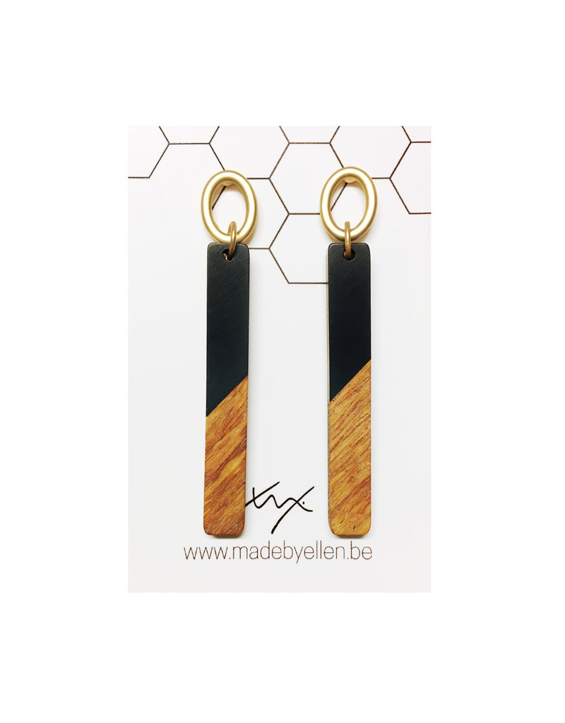 oorbEllen hars& hout zwart staafjes