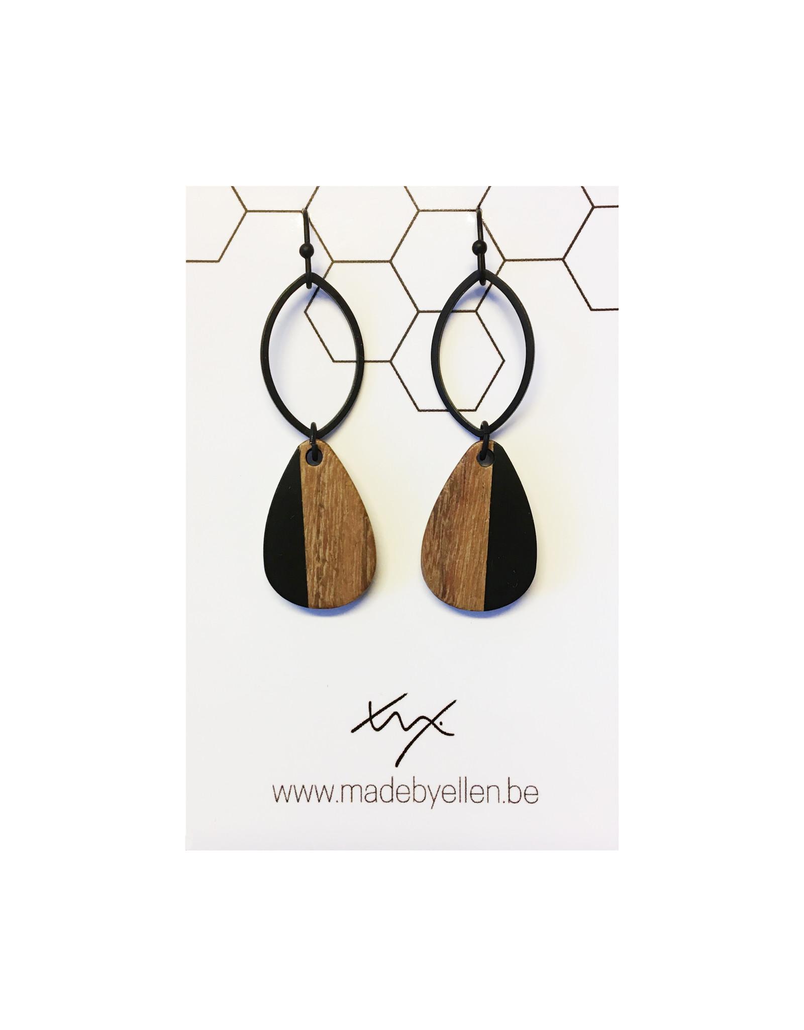 oorbEllen hars&hout zwart ovaal druppel verticaal