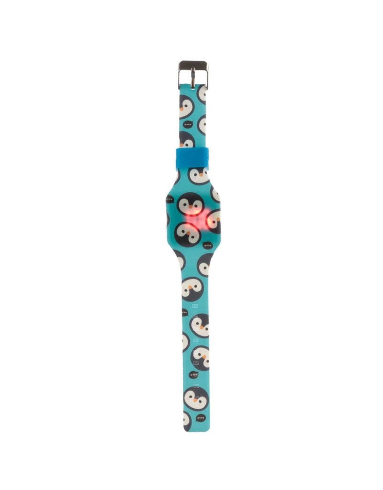Horloge LED pinguïn blauw