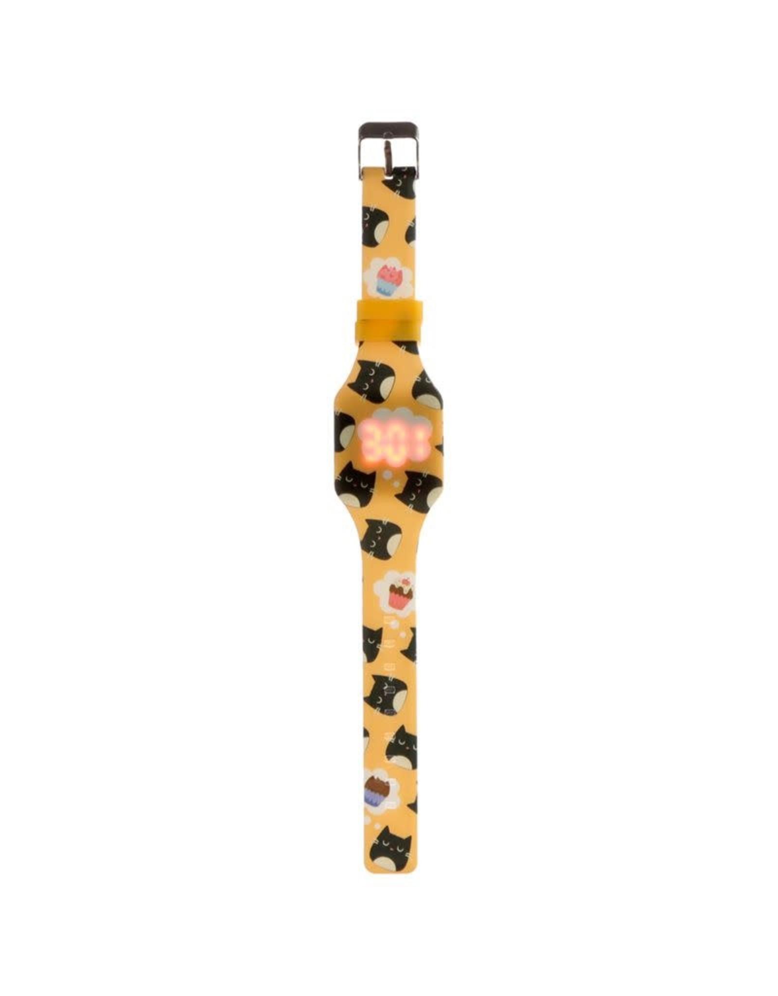 Horloge LED kat geel