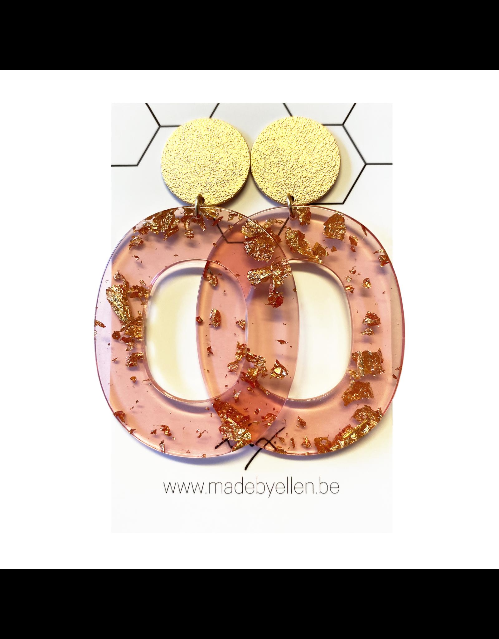 oorbEllen acryl breed roze